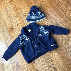 Janie and Jack Blue Deer Sweater Set
